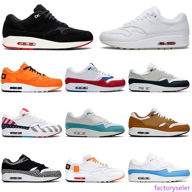Chaussures de course en gros 87 hommes femmes 1 Porto Rico Parra Bred Université bleu blanc 87s concepteur formateurs hommes la taille du sport 36-45