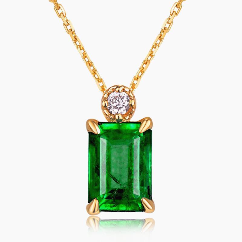 الزمرد الصغيرة الأحجار الكريمة الماس القلائد قلادة للنساء 14K الهدايا الأزياء لون الذهب قلادة الكريستال الأخضر المجوهرات BAGUE