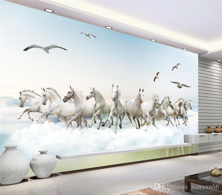 Papel de parede personalizado Sala Quarto Mural tridimensional fundo Super HD Cavalo TV Wall Wall mural papel de parede 3d