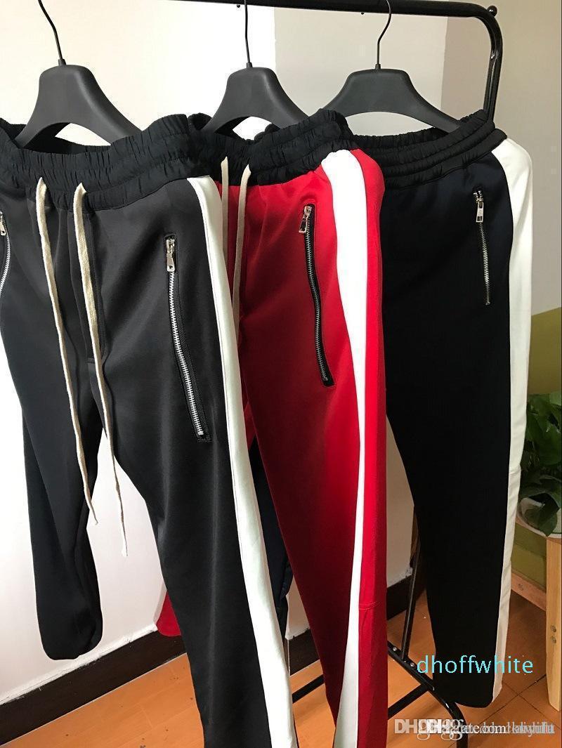 Uomo Donna cerniera laterale Pantaloni Hip Hop Fear Of God Pantaloni Retro Sport pantaloni del cotone All'interno Zipper striscia di colore Stripes Men '; S