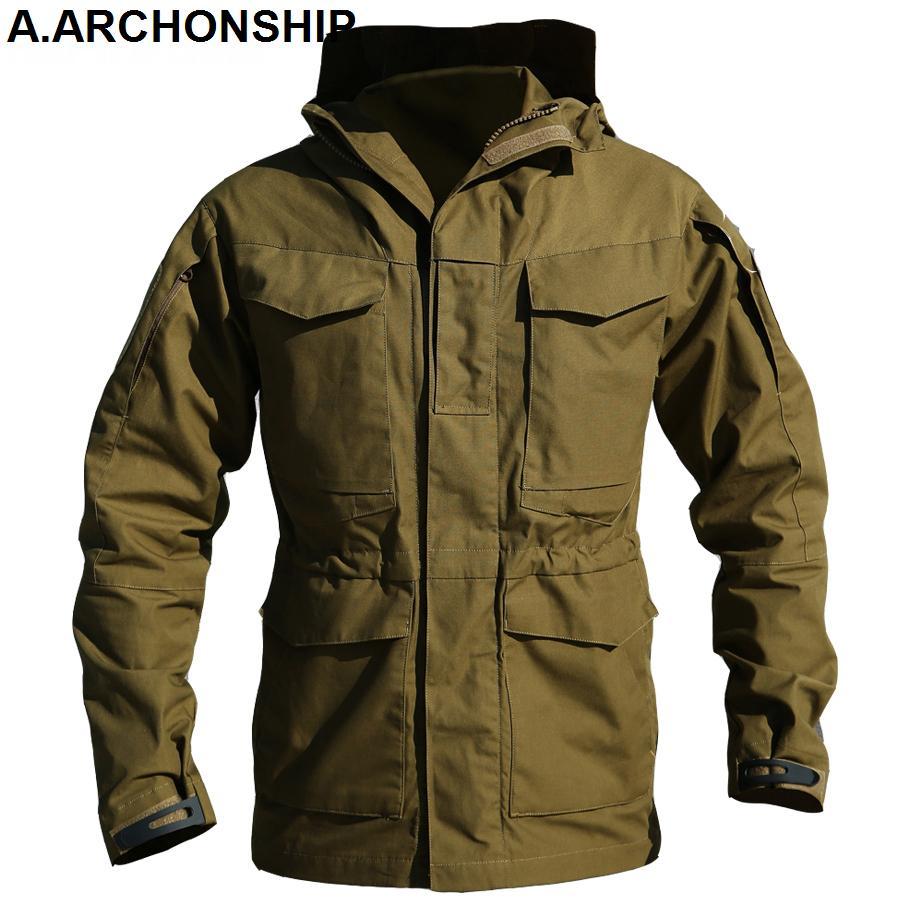 M65 UK ABD Ordusu Giyim WINDBREAKER Askeri Alan Ceketler Erkek Kış / Sonbahar Su geçirmez Uçuş Pilot Coat Hoodie Üç renk T200106