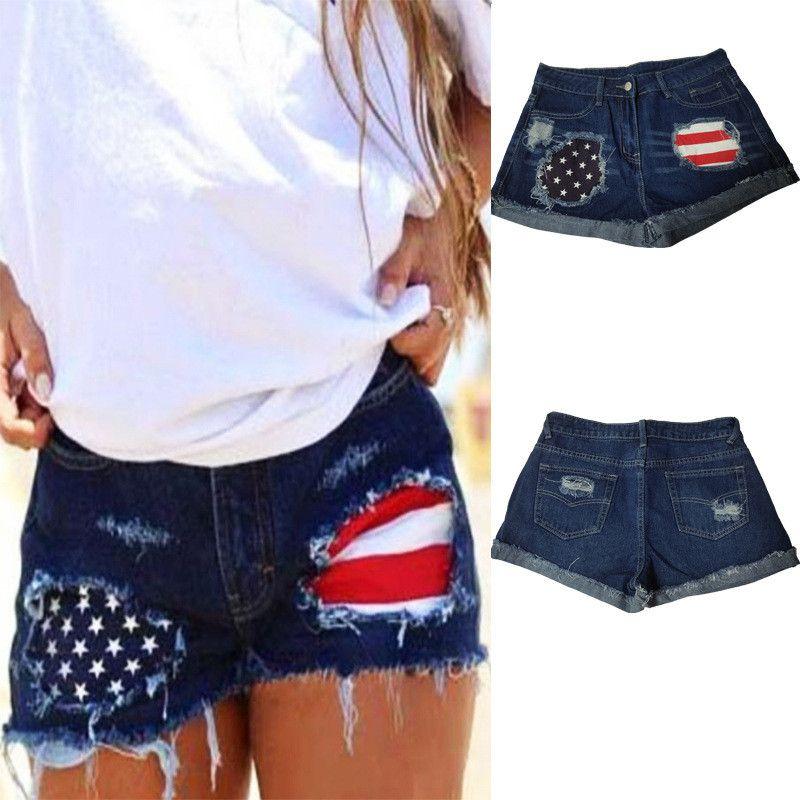 Летний женский дизайнер Короткие джинсы USA National Flag Отпечатано Hole Середина талии шорты Мода Женщины одежда