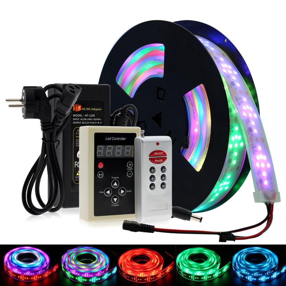 LED carrera de caballos de luz de color RGB Runing llevados cambiables tira los 5M con el programa del controlador 133 de RF de vacaciones Decoracion luz de hadas