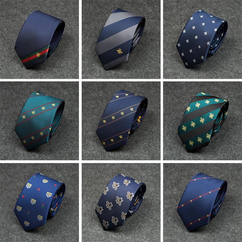 2020 Herrenmodedesigner Persönlichkeit Luxuxstickerei Biene Krawatte Farbe wilde Krawatte Männer geschäftliche Krawatte passend