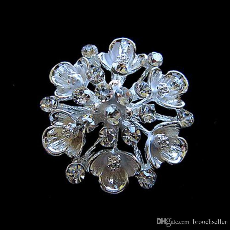 1,25 tums silverpläterad Clear Rhinestone Crystal Diamante Flower Pin Brosch