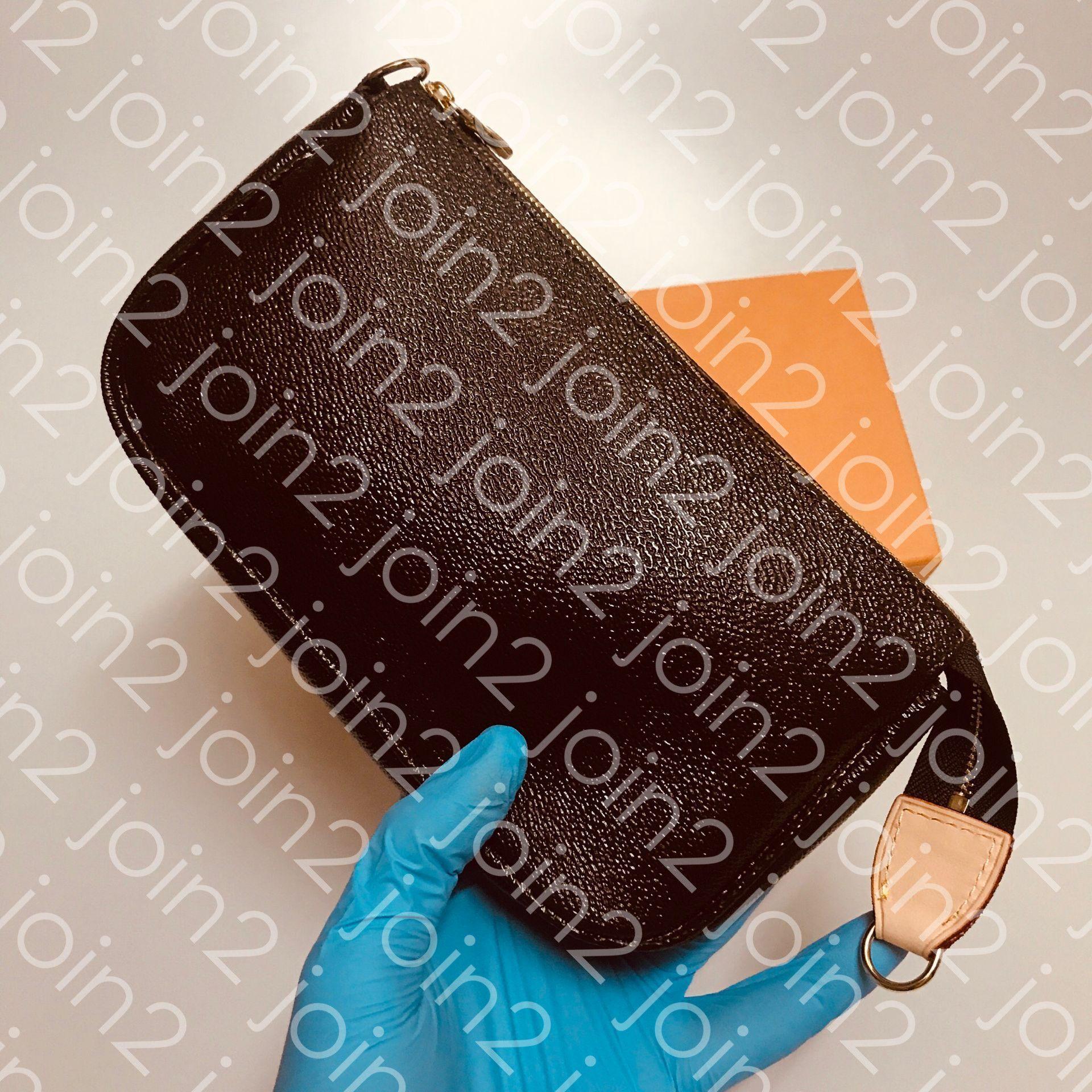 Pochette Accessoires إمرأة أزياء مخلب مساء حقيبة صغيرة حقيبة الكتف الصغيرة حقيبة اليومية الحقيبة البني قماش جلدية مع حقيبة الغبار M51980