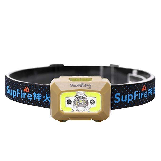 Supfire Rechargeable Headlamp,Motion Sensor Headlamp Cree Led 500 Lumens Built-in Battery with Red Light,Elastic Adjustable Headband,HL09