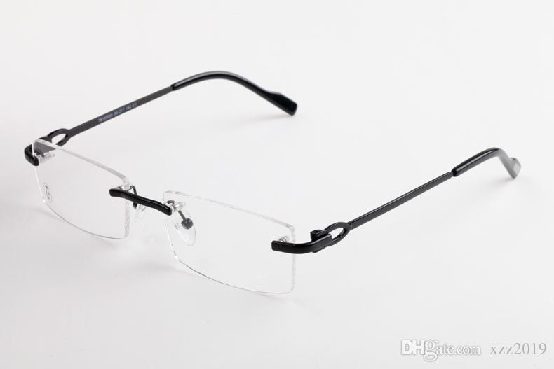 Nouveau 2019 lentille lunettes sans monture corne de buffle eyeware Marque lunettes designer miroir sans monture Oculos pour hommes femmes avec boîte