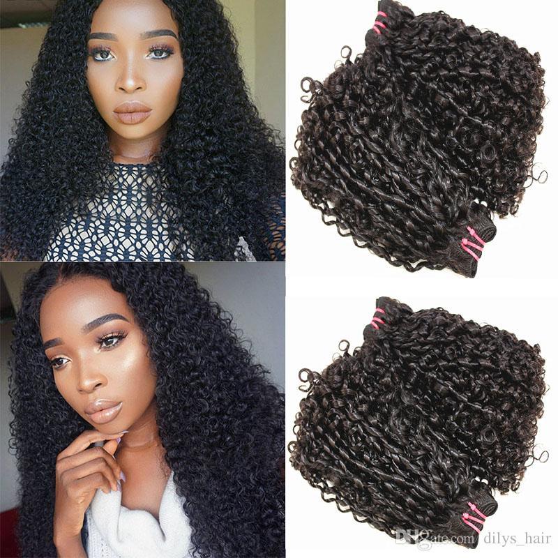 Pissy Curl Çift Kapatma Brezilyalı Küçük Kinky Kıvırcık İnsan Remy saç örgüleri Doğal Renk 10-20inch ile Funmi İnsan Saç Paketler Çizilen