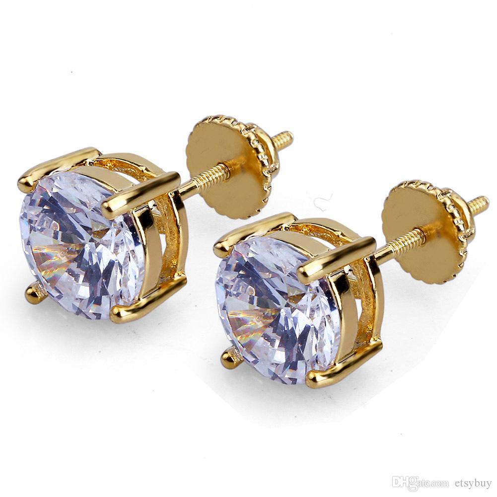 4mm 6mm 8mm Men Women Girls Stud Earrings White Zircon Round Gold Silver Designer Earrings Hip Hop Stud Earrings Mens Jewelry