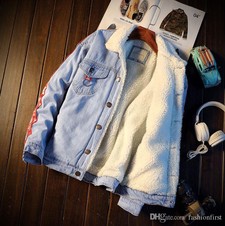 Mode Jean Jacke Schaffell gefüttert der 1990er Jahre Stil Rockabilly Jean Mantel Denim Neuheit Applique Jacke Retro Boy Männer Herren Jacke Plus Size