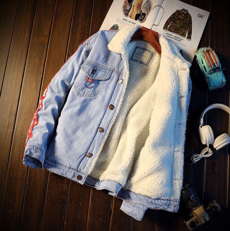 Fashion Jean Jacket Sheepskin Lined 1990s Style Rockabilly Jean Overcoat Denim Novelty Applique Jacket Retro Boy Men Mens Jacket Plus Size