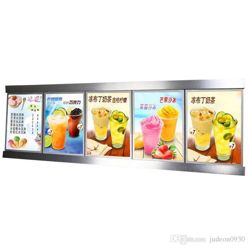 (5 graphismes / colonne) Cadre d'affiche lumineuse, menu rétro-éclairé LED LED Panneau Lightbox Affichage pour restaurant, à emporter