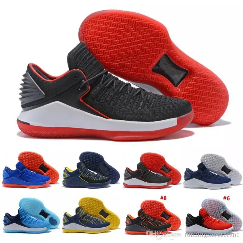 Di sconto Top Basketball Shoes 32 XXXII trainer per gli uomini tesse vamp North Carolina di pallacanestro blu Nero Rosso Giallo Jumpman Sneaker US 7-12
