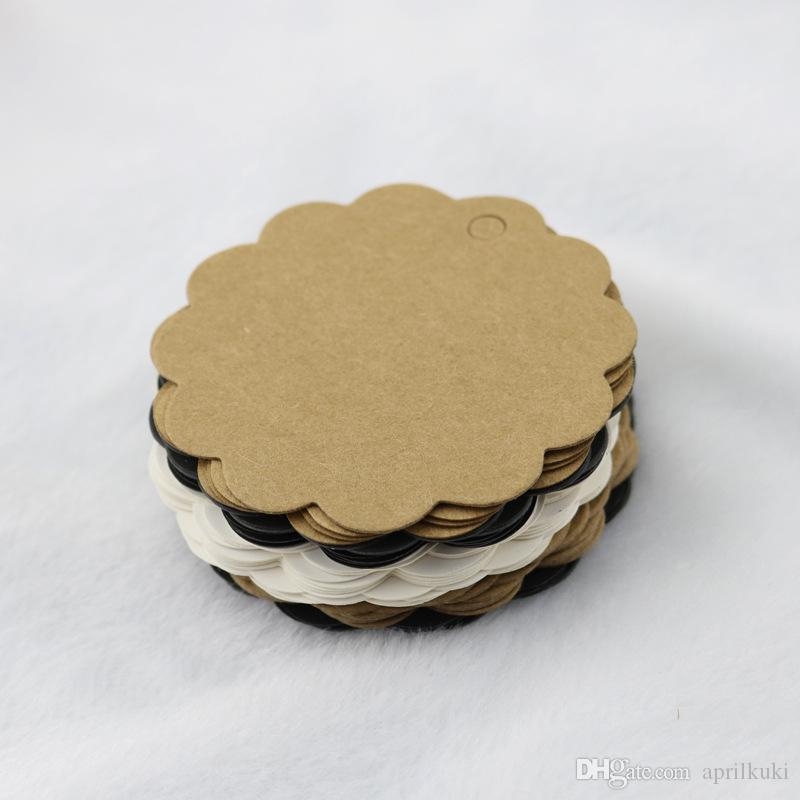100 قطعة / الوحدة 5.8 * 5.8 سنتيمتر كرافت ورقة الدانتيل جولة تسمية العلامة الصغيرة ل هدية الصابون بطاقة المزاج