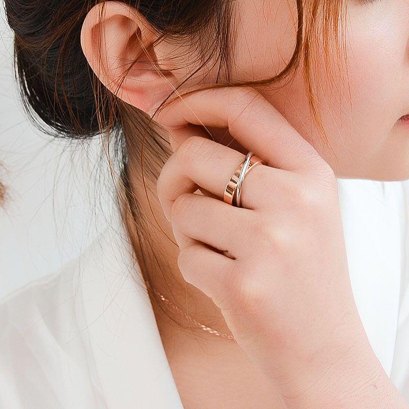 2020 Paare Einfache Doppel Ring Titan Stahl Rose Gold überzog 18ck Goldschmuck Großhandel US-Größe