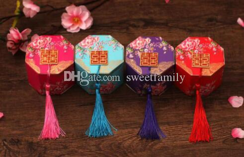 100pcs/lot New Chineses Double Happiness Candy Box Party Favor Packing Chocolate Packaging With Tassels Free Shipping