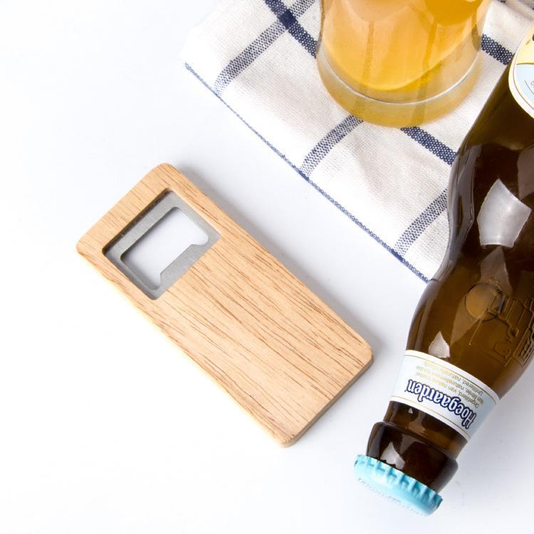 500pcs Belas Qualidade Beer Bottle Opener punho de madeira Corkscrew de aço inoxidável Praça abridores Eco-friendly Anti Scald Lightweight Presente Para