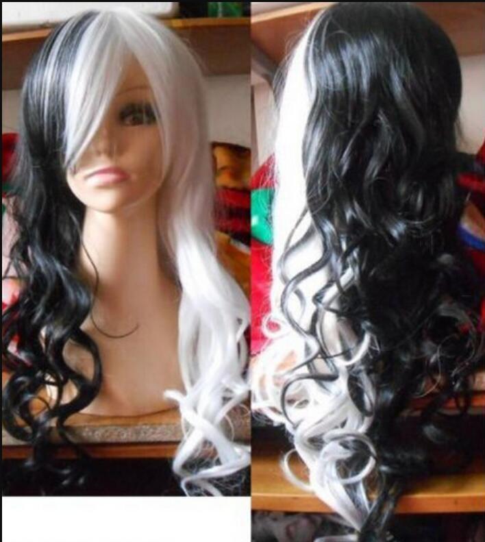 WIG shipping NEW noir blanc long bouclés perruques de cosplay