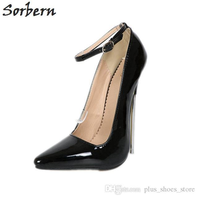 Сорберн 18см экстремальные высокие каблуки женщин насосы плюс размер металлические каблуки дамы партия обуви насос унисекс гей танец Crossdressed каблуки