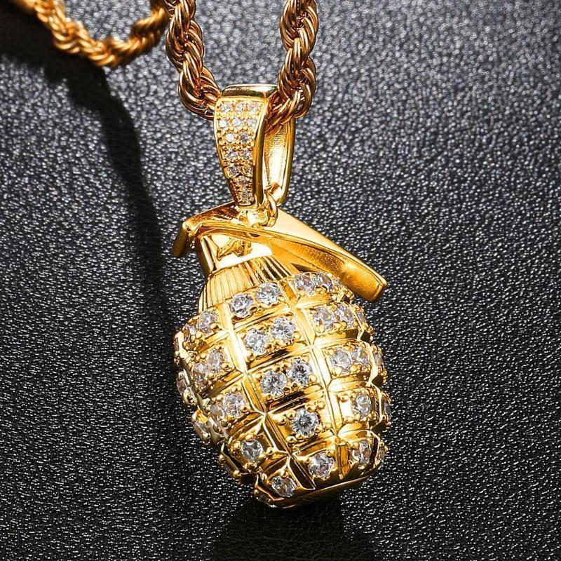 Out Cubic + Zircon Granate Halskette Herren mit Seil-Ketten-Hip Hop-Goldfarben-Charme-Geschenk Kette Schmuck für Männer Frauen