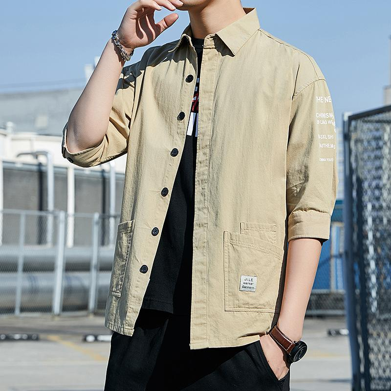 Мужские повседневные рубашки Продажа Мода Мужчины Сплошные 100% хлопок Многие карманные приливы рубашка половина рукава платье мужская социальная блузка
