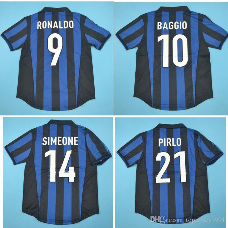 Top 98 99 Retro Ronaldo Maillots classique Vintage 1998 1999 SIMEONE maillot de football 07 08 Baggio Maillot de foot de foot PIRLO maillot