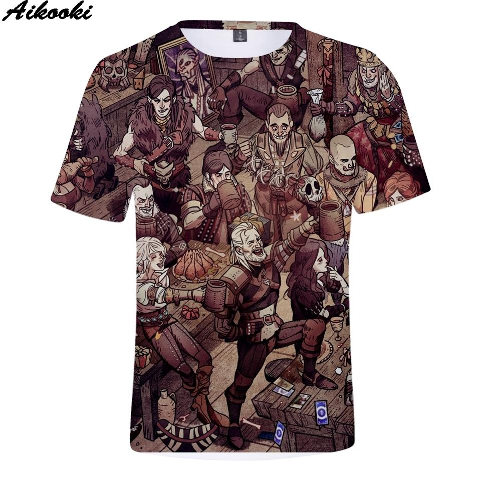 Aikooki Witcher 3 طباعة 3d تي شيرت الرجال / النساء أزياء المحملات 3d يتشر تي شيرت الرجال قصيرة الأكمام الصيف الزى الهيب هوب قمم Y19050701
