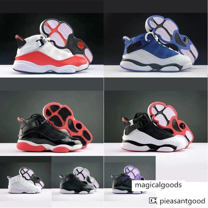 Little kids Jumpman 6s rings retro basketball shoes for sale White Black Red Blue Purple air flights aj6 sneakers tennis with box size 28 35
