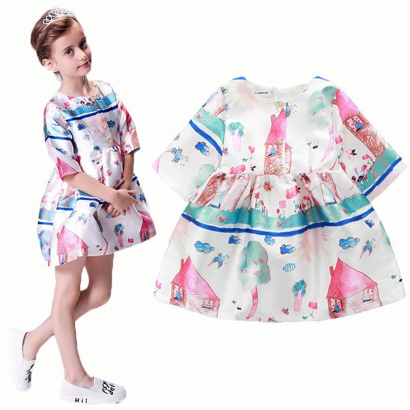 AiLe Кролик новорожденных девочек мультфильм платье дети ткань тела детей трапеция Платье Европейский Принцесса стиль печати шаблон платья