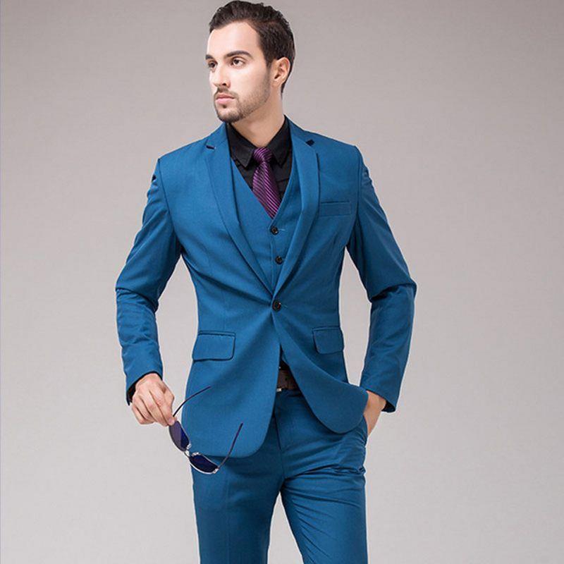 Slim Adatto uomo vestito di affari lavoro smoking dello sposo del cappotto Gilet pantalone del vestito da promenade del partito Blazer Abbigliamento (Jacket + Pants + Vest + Tie) J740