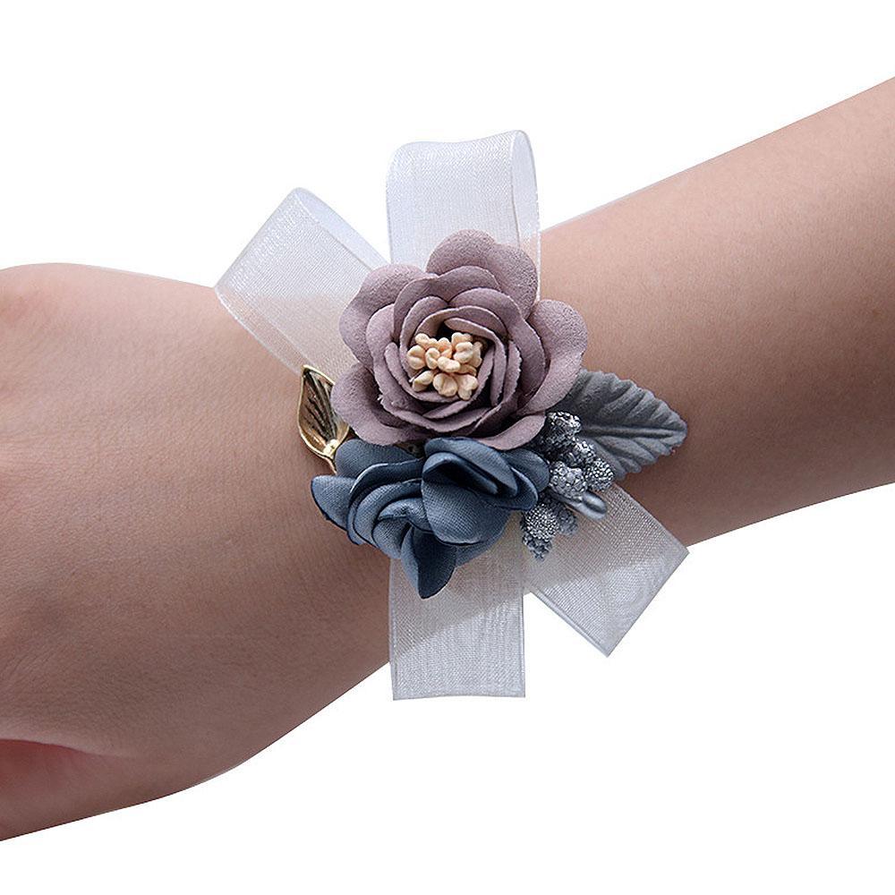 Bracelet Main Fleurs Poignet Fleurs Artificielle Mariage Danse Parti Décor Snap Bijoux Cadeaux pour Femmes