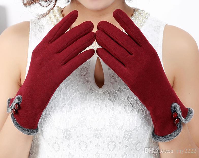Новые перчатки с сенсорным экраном женские зимние виды спорта на открытом воздухе езда теплые перчатки без пуховых шерстяных перчаток