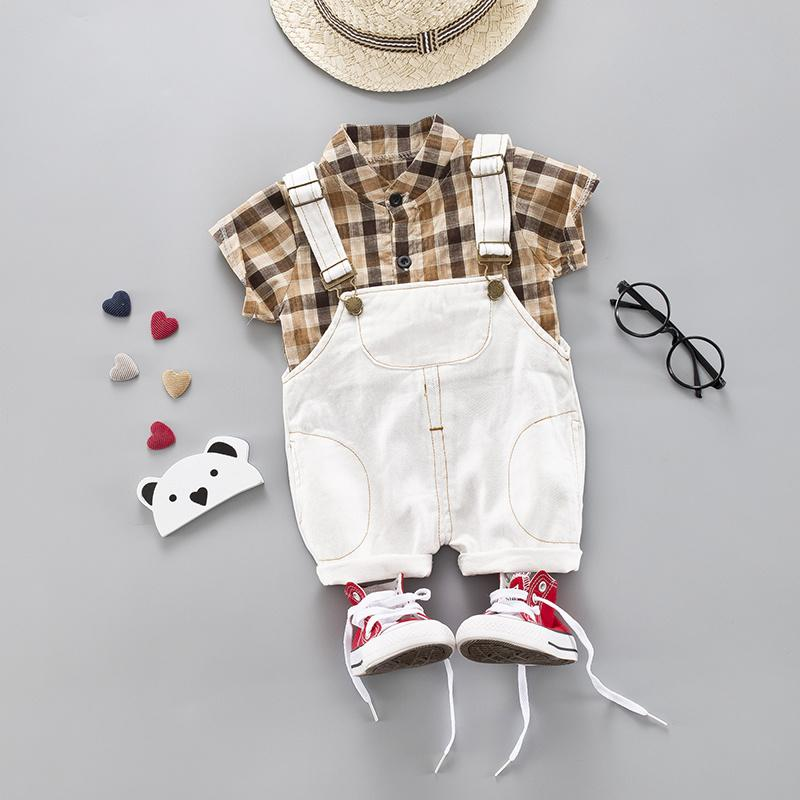 Мальчишки Party Одежда для младенцев 2pieces / Set Одежда наборы Хаки клетчатую рубашку + шорты Infant Эпикировка Комплект детской одежды Костюм LY191227