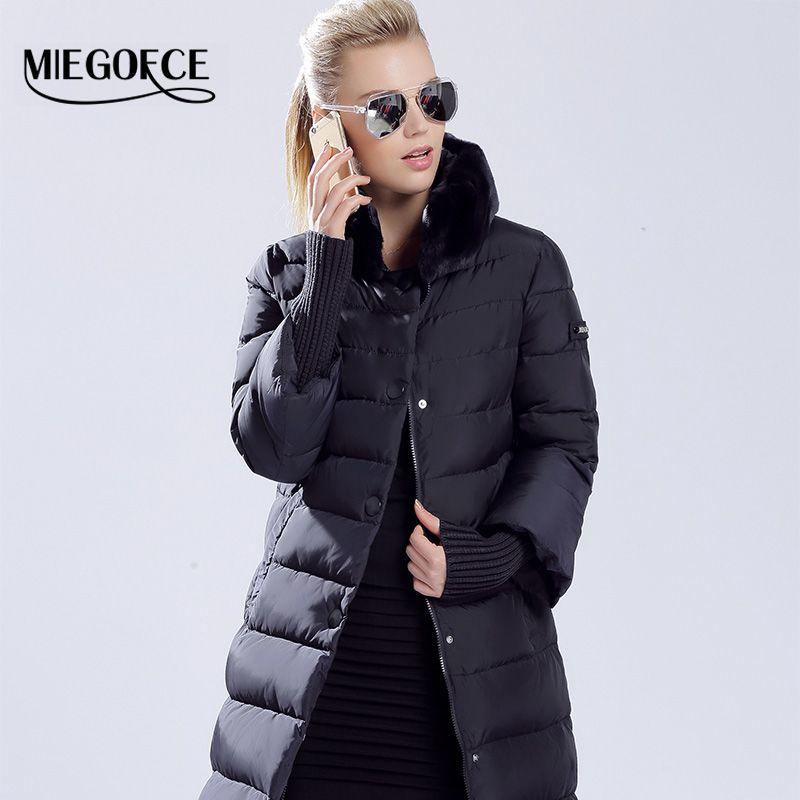 MIEGOFCE 2018 Kış Ördek Aşağı Ceket Kadınlar Uzun Coat Sıcak Parkas Kalın Kadın Sıcak Giysiler kürk yaka Yüksek Kalite