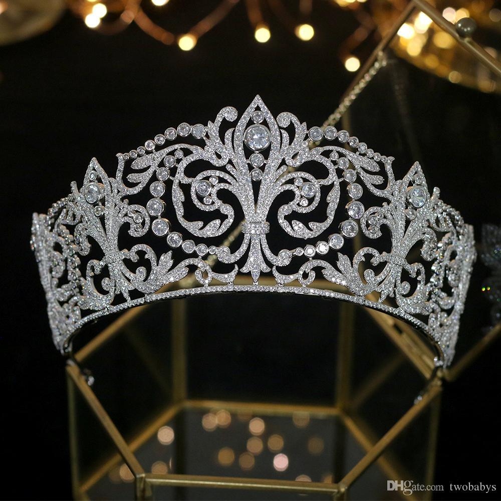 Headwear corona Accesorios circón de lujo clásico de novia de la boda accesorios para el cabello de la princesa cumpleaños del tocado de la corona de la venda de las mujeres