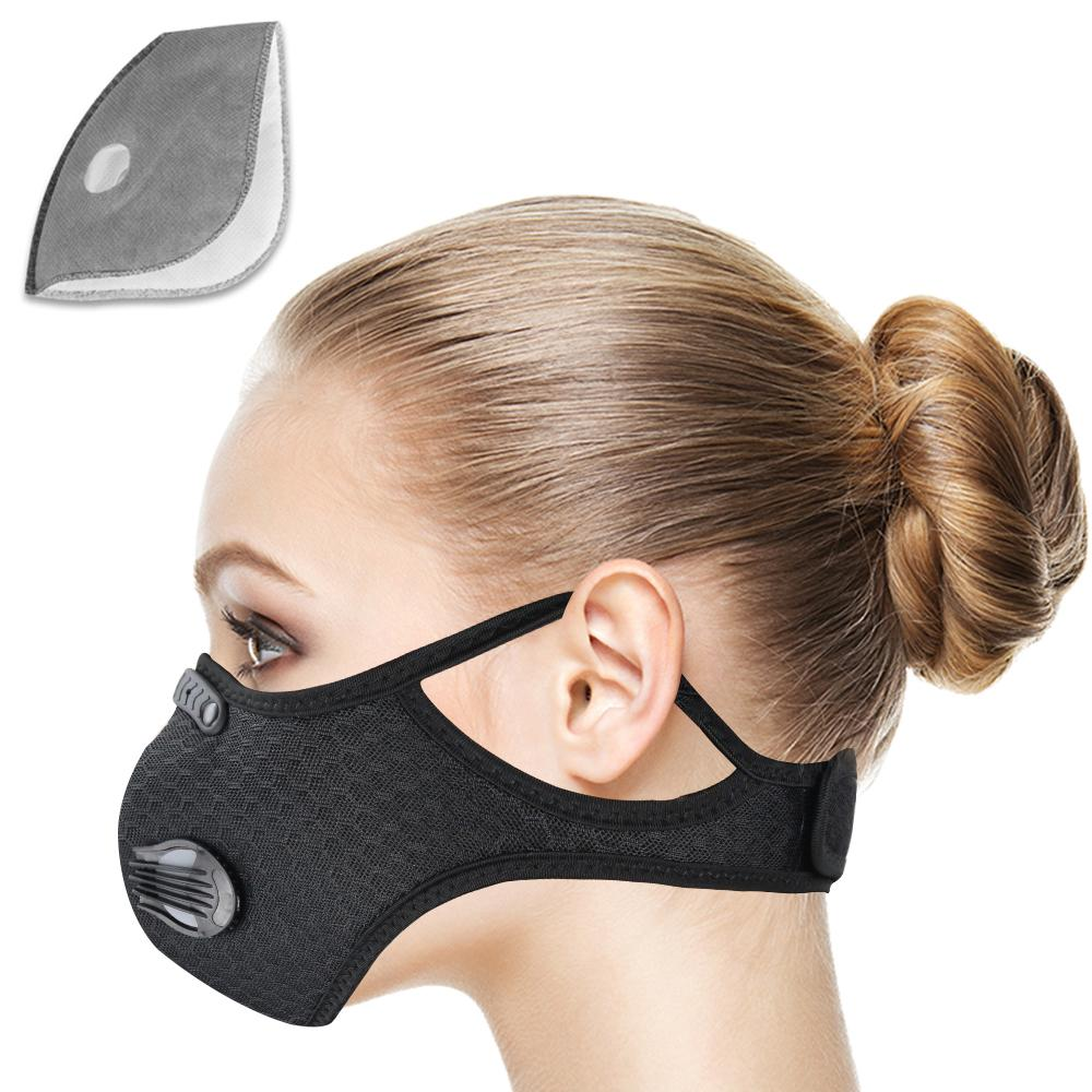 Adultos ciclismo cara deporte entrenamiento máscara anticontaminación máscara activada lavable máscara deporte al aire libre Accesorios