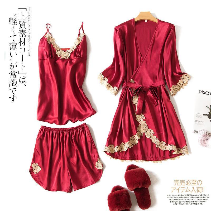 Lisacmvpnel 3pcs sexy del merletto Pajama Set Cardigan + camicia da notte + bicchierini dormono insieme