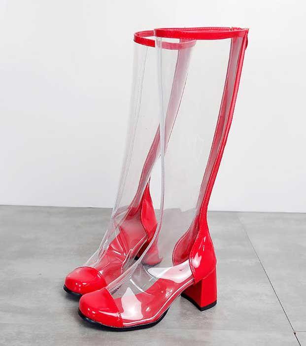 Прозрачные обувь женщина Круглый Toe Лоскутная Коренастый пятки Длинные сапоги Женщина ПВХ колено высокие сапоги
