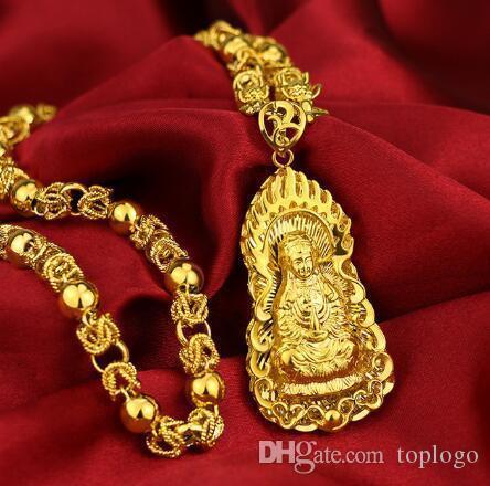 BlingBling Buddha Pingente Ouro Amarelo Cheio Budismo Vintage Crença Jóias Com 18 polegadas Dragão Cadeia