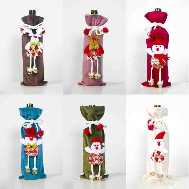 Vino di Natale Bottiglia di copertura flanella bambola bottiglia di champagne Set Santa Snowman Deer bottiglia copertura Xmas Kitchen Decor