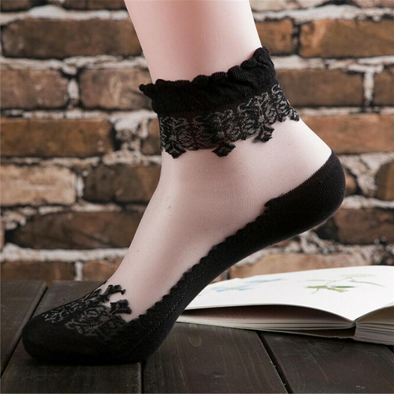 US Women Fashion Transparent Thin Lace Socks Crystal Glass Silk Ankle ShortSocks