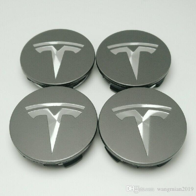 Centro 56 millimetri Car Wheel Cap Rim coprimozzi emblema Grigio + Argento per la Tesla Model S 3 X