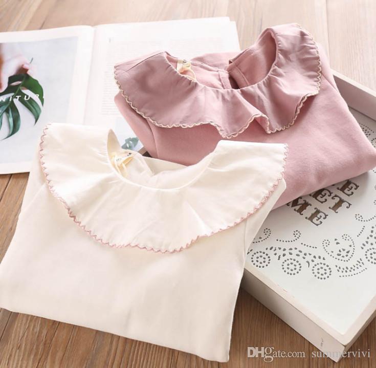 Girls T-shirt kids falbala lapel long sleeve Tees sweet girls princess tops 2019 Fall new children bottoming shirt pink white F9494