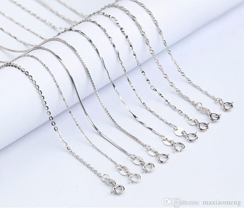 (100 unidades / lote) preço de fábrica 925 cadeias de água colares de prata esterlina Segurança sem estimulação de fade colares Comprimento 18 polegadas 1,5 milímetros