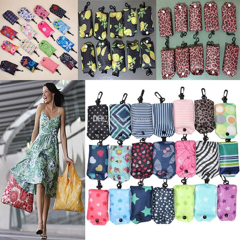 Newest Nylon Foldable Shopping Bags Reusable Storage Bag Eco Friendly Shopping Bag Tote Bags Multi-function folding Grocery Bags WX9-199