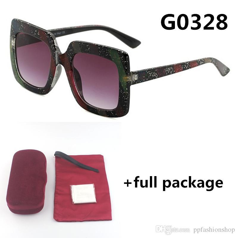 Novas senhoras 0328 Óculos de sol Moda semana multicolor óculos UV400 homens grandes quadro óculos 5 cores com caixa