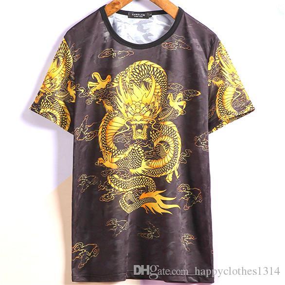 럭셔리 드래곤 패턴은 슬림 T 셔츠를 인쇄 클래식 남성 의류 셔츠 티 T 셔츠 오피스 비즈니스 정장 슬림 맞추기 세련된 T 셔츠 탑스