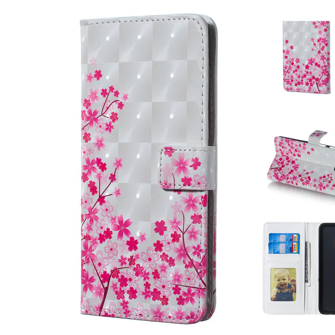 Stand de cas de téléphone portable de conception de fleurs de cerisier de couleur de la couleur 3D Rose avec le cadre de photo
