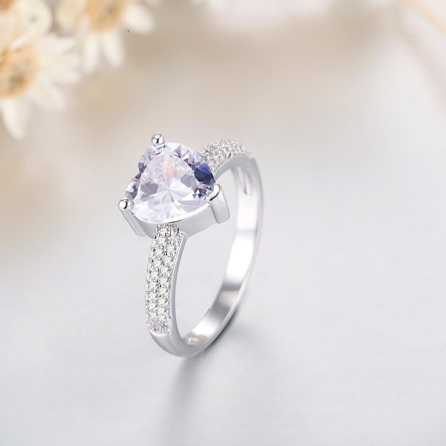 Fashion-Hot Jewelry Female loves Ring woman S925 silver Crystal white color exquisiteMicro Square crystal Exquisite Lover Hand Accessories